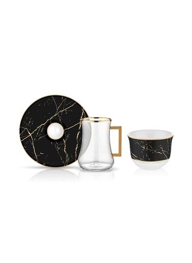 Koleksiyon Dervish Kulplu Gawa 6'lı Çay Seti Mermer Siyah Renkli
